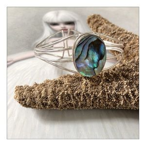 Silver Plated Abalone Adjustable Cuff Bracelet